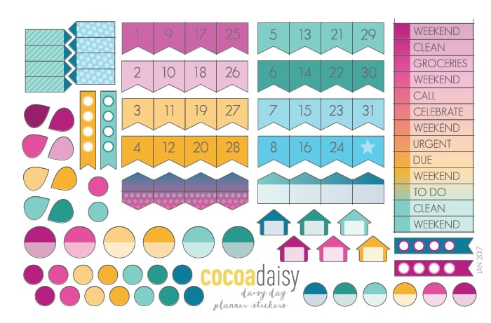 January 2017 Day and Date Stickers | Cocoa Daisy