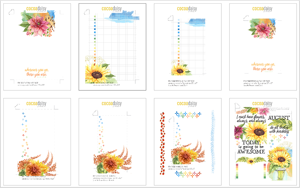 picture relating to Printable Pictures of Sunflowers identified as August 2017 Absolutely free Planner Printables (Sunflowers) Cocoa Daisy