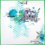 How realize a scrapbook layout background with ink and bubble wrap, by Estelle