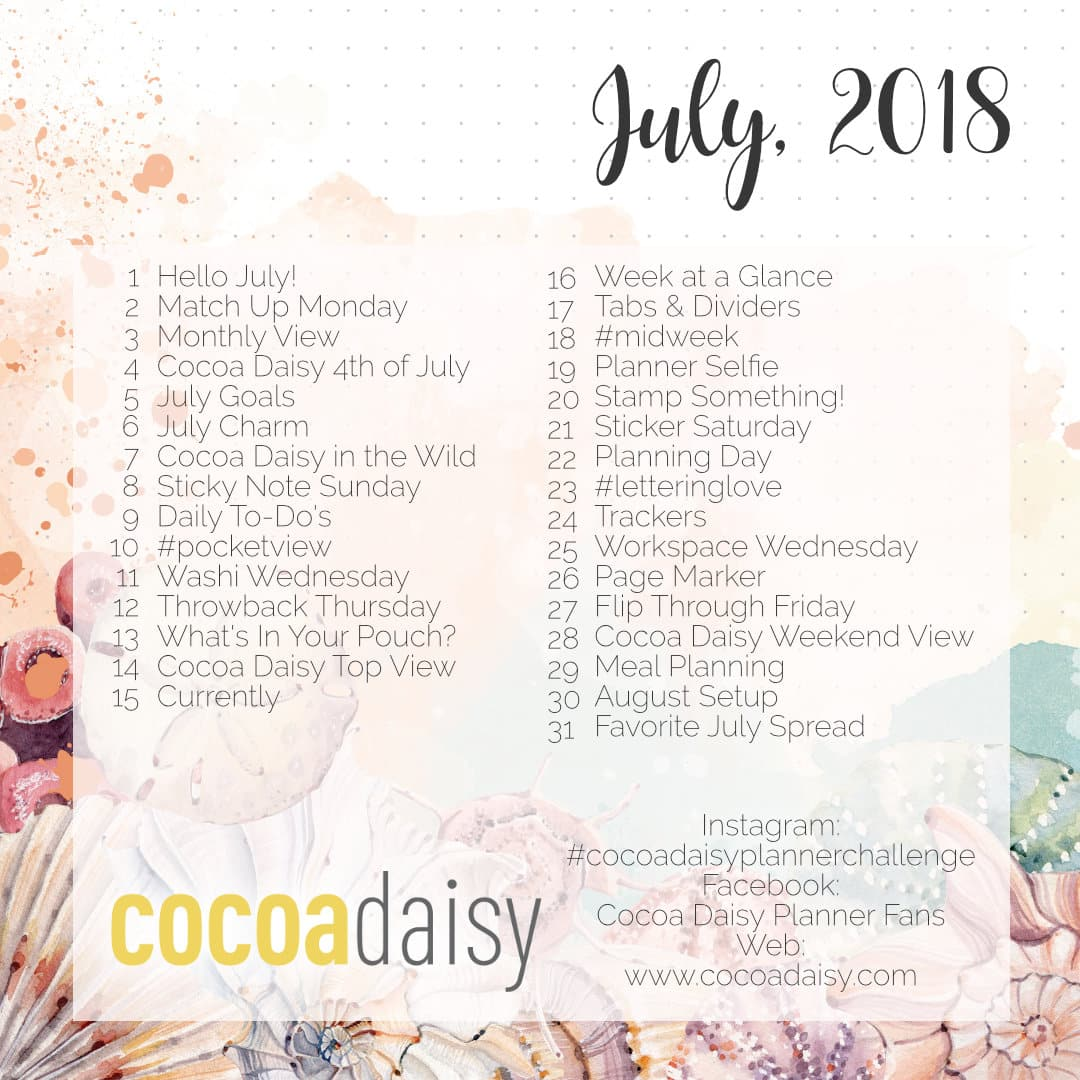 July 2018 FREE Planner Challenge Printable | Cocoa Daisy