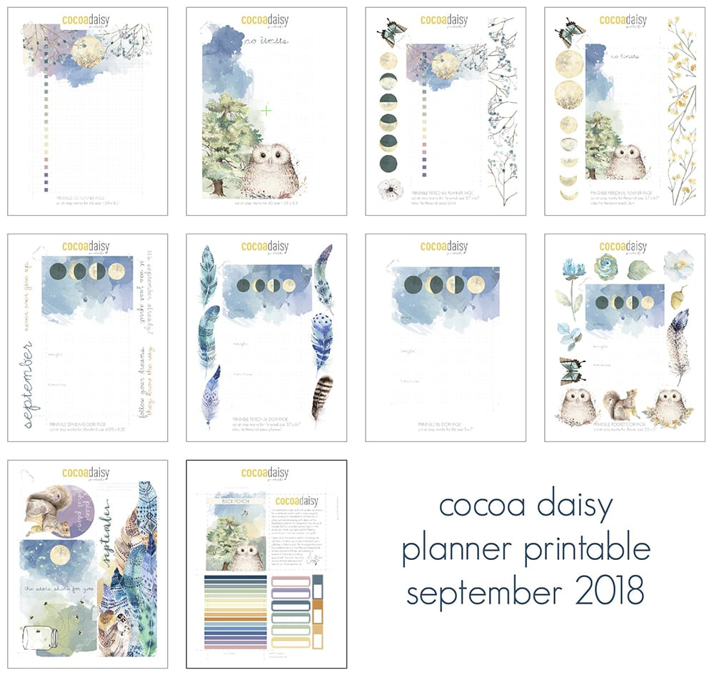 September 2018 FREE Planner Printables (Owls & Moons) | Cocoa Daisy