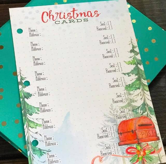 image relating to Printable Christmas Card List referred to as December 2018 No cost Xmas Card and Reward Record Printables