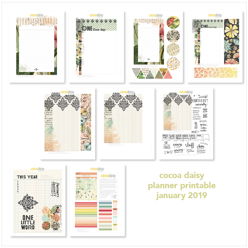 January 2019 FREE Planner Printables (Paper & Ink) | Cocoa Daisy