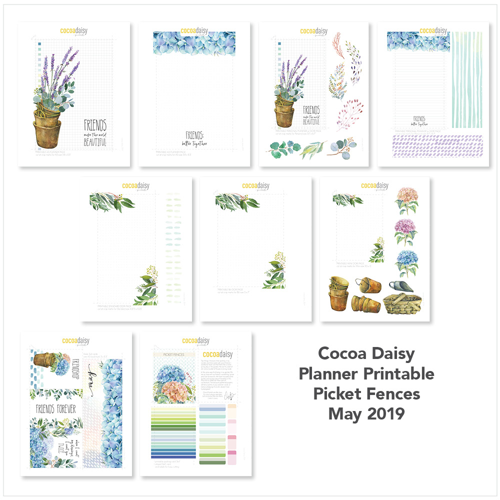 May 2019 FREE Planner Printables (Picket Fence) | Cocoa Daisy