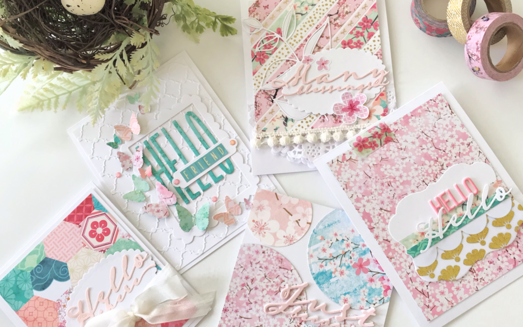 Spring Cards using Paper and Washi from Cherish Blossom