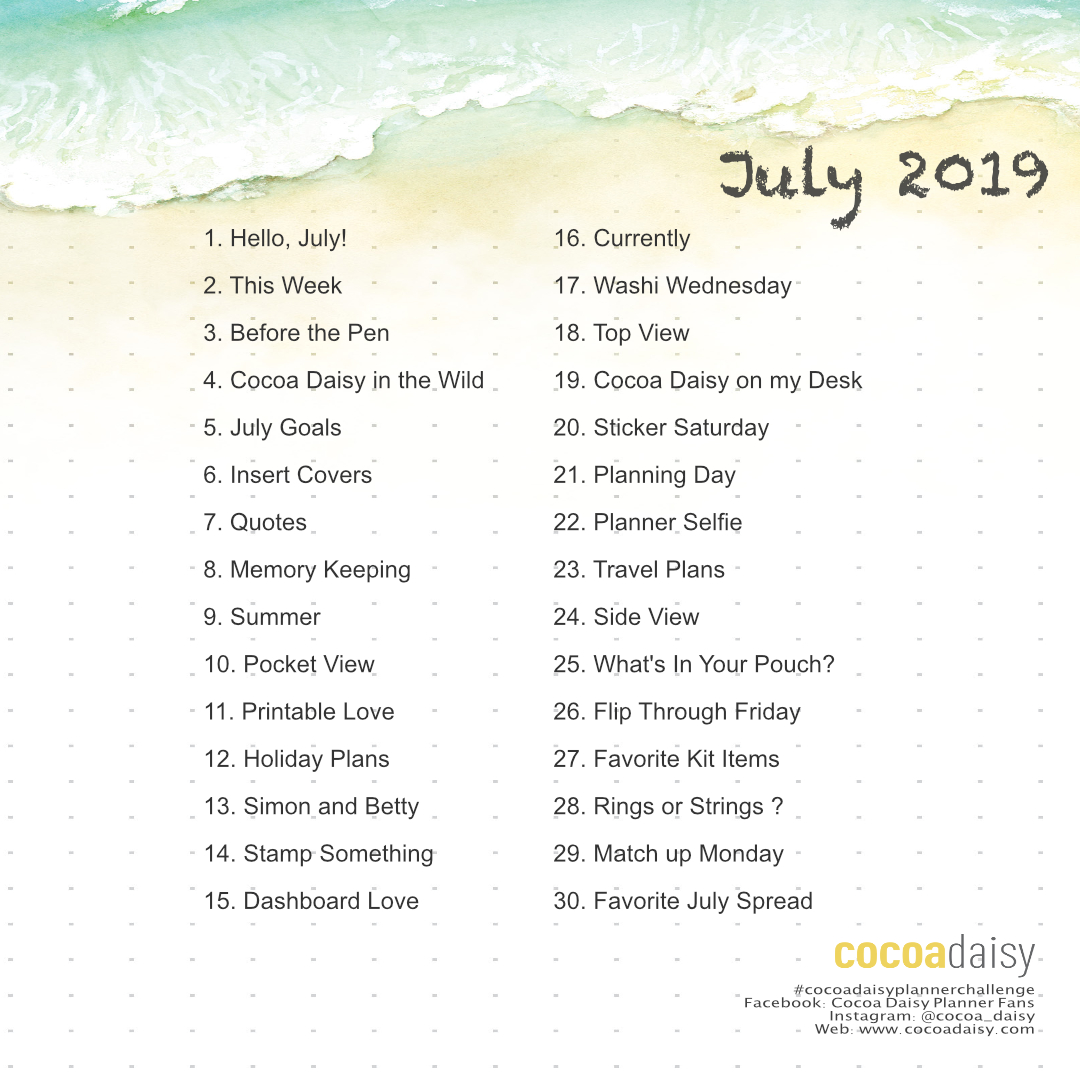 July 2019 FREE Planner Challenge Printable (South Beach) | Cocoa Daisy