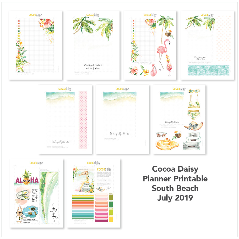 July 2019 FREE Planner Printables (South Beach) | Cocoa Daisy