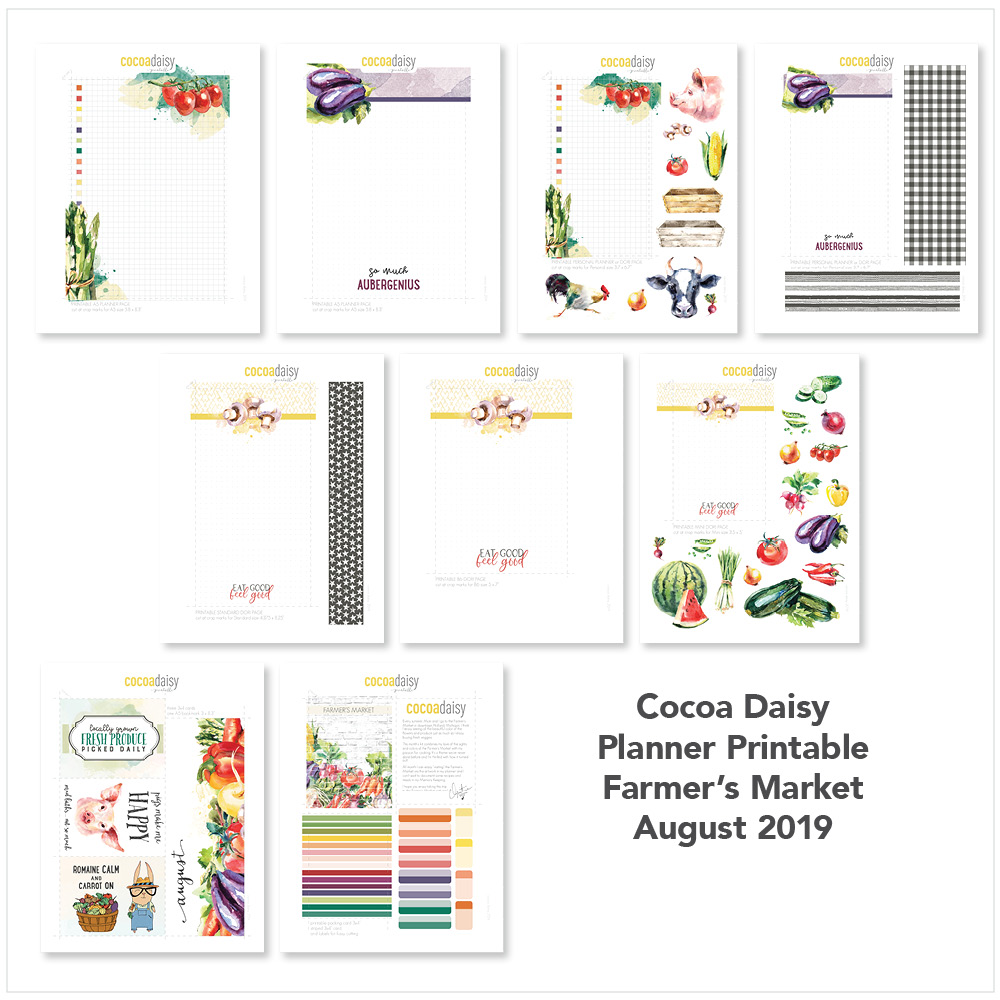 August 2019 FREE Planner Printables (Farmer's Market