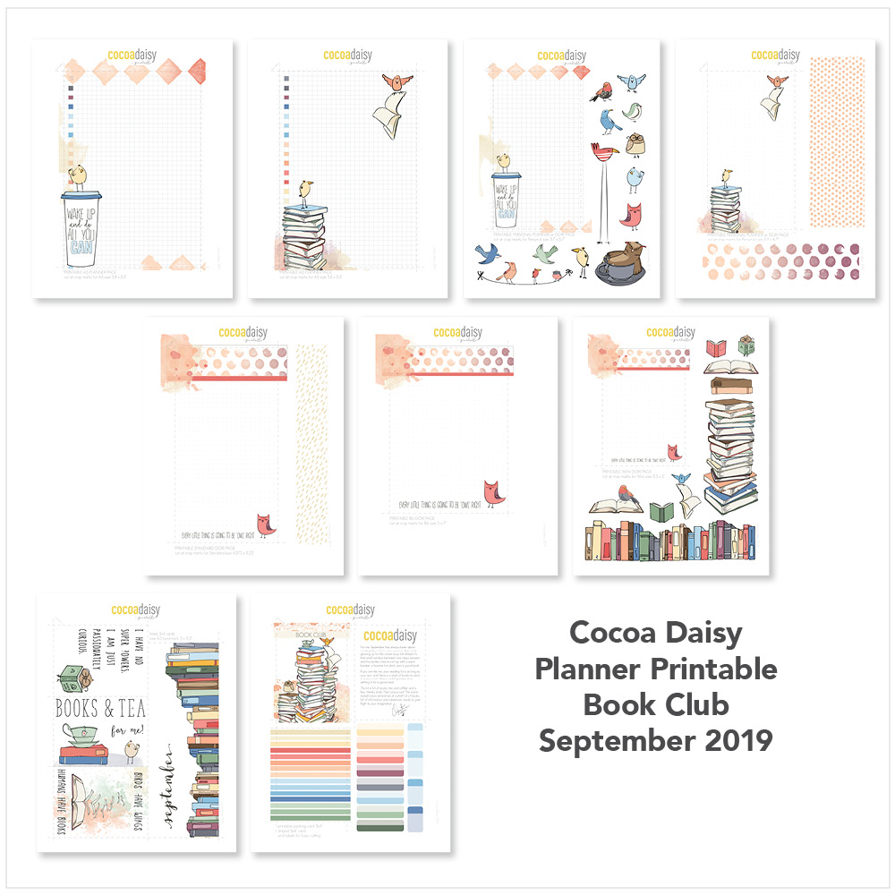 "September 2019 FREE Planner Printables ""Book Club"" 